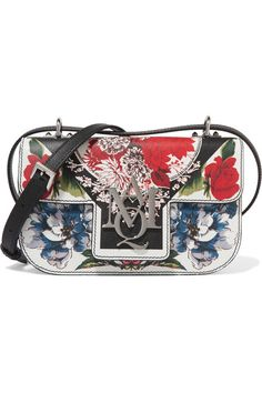 ALEXANDER MCQUEEN Insignia printed textured-leather shoulder bag. #alexandermcqueen #bags #shoulder bags #leather #