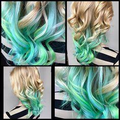 "Amanda-San Diego Hair Stylist on Instagram: ""I had so much fun today doing @bakemasterr hair! Neon blue and neon mint green using all @pravana 💙✨💚 #FreelanceSalon #sandiegohair…"""