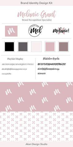 Brand design for blogger or social media influencer. Blush branding. Brand Identity kit. Stock branding. Stock logo. Logo design. #solopreneur #business #branding #design #fempreneur