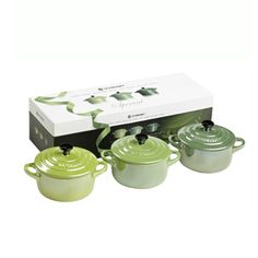 Le Creuset Stoneware Mini Cocotte Set of 3 Pearlescent Green 0.25L