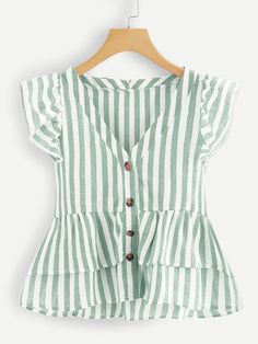 Shop V Neckline Single Breasted Striped Babydoll Top online. SHEIN offers V Neckline Single Breasted Striped Babydoll Top & more to fit your fashionable needs. Kids Fashion, Fashion Outfits, Spring Fashion, Fashion Tips, Women's Fashion, Fashion Trends, Couture, Plus Size Blouses, Women's Blouses