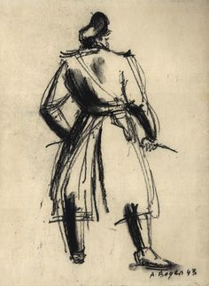 """The """"Ubermensch"""" in the pose typical of the """"Master Race"""", Alexander Bogen, Oil crayon on paper, 1943"""