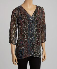 Look at this #zulilyfind! Honey Punch Black Sheer Floral V-Neck Top by Honey Punch #zulilyfinds