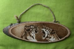 "Pyrography on a wooden slice - ""Playing Tigers"" - Wood burning - Home Decoration by SantoArt on Etsy"