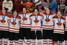Team Canada Gold in Vancouver 2010 L to R: Jennifer Botterill, Jayna Hefford, Caroline Ouellette, Meaghan Mikkelson, Gillian Apps and Cherie Piper.............photo from the.Cdn Olympic Team/Hockey Canada