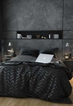 Here is the top 10 modern bedroom decoration ideas and inspirations.You can create your own modern bedroom with these bedroom design ideas Men's Bedroom Design, Bedroom Colors, Home Decor Bedroom, Men Bedroom, Bedroom Furniture, Bedroom Apartment, Apartment Therapy, Apartment Living, Couple Bedroom