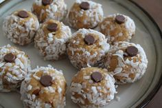 Almond Drops. Sandi's no-bake recipe uses almond flour, quick oats, crushed almonds, almond butter, honey, sea salt, vanilla extract, shredded coconut.