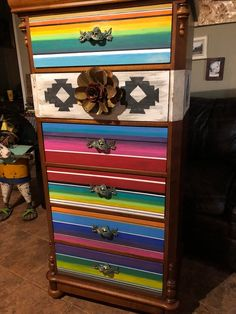 Funky Painted Furniture, Western Furniture, Paint Furniture, Repurposed Furniture, Home Decor Furniture, Custom Furniture, Redoing Furniture, Mexican Furniture, Bohemian Furniture