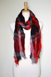 Plaid has been a timeless pattern for many years and is here to stay forever. Oversized and fluffy, this red and black plaid cotton scarf will come to good use from day-to-night. $22.99 Use code PINIT at checkout for 10% off your entire order.