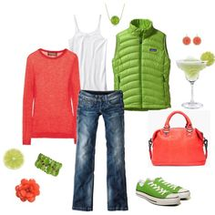 My two favorite colors...Pink and Green! ;)  created by katiejeanne.polyvore.com
