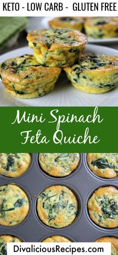 An easy low carb breakfast or lunch. These mini spinach feta quiches are delicious and simple. An easy low carb breakfast or lunch. These mini spinach feta quiches are delicious and simple. Healthy Low Carb Recipes, Keto Recipes, Snack Recipes, Dinner Recipes, Brunch Recipes, Crockpot Recipes, Low Carb Breakfast Easy, Breakfast Recipes, Mini Breakfast Quiche