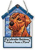 Collectible Glass » Labrador Dog Figurine – Red Satin Here