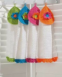 Free Crochet Pattern: Flower Power Tea Towels