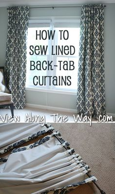 Tutorial: How to sew lined back-tab curtain panels, drapery panels, drapes