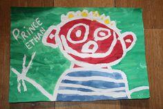 Bricolage avec mon fils, 3 ans. Dessin à la drawing gum et mise en couleur à l'encre.