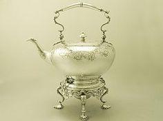 Victorian Tea Kettle | Antique Sterling Silver  SKU: W9795 Price    GBP £4,450.00 http://www.acsilver.co.uk/shop/pc/Sterling-Silver-Spirit-Tea-Kettle-Antique-Victorian-67p6545.htm#.VDJnMPldXHV