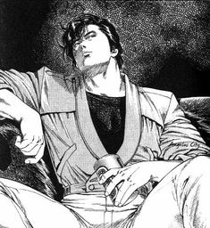 City Hunter: Death Of The Vicious Criminal Ryo Saeba Special Manga Girl, Manga Anime, Anime Boys, Nicki Larson, City hunter, Black Paper Drawing, Hunter Anime, Japanese Illustration, Black And White Aesthetic