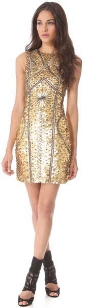 Monique Lhuillier Leather Armor Sheath Dress in Gold - Lyst