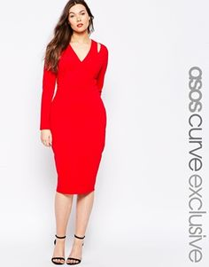 ASOS CURVE Longsleeve Bodycon Dress with Plunge in Crepe