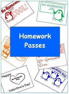 Homework passes for student rewards. From Betsy Weigle at Classroom Caboodle.