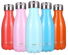 """""""anature"""" Stainless Steel Water Bottle,Double Wall Vacuum Insulation,Cola Shaped for Kids,Ladies,Business Convenience,Small Size,9oz,Turquoise - Are you thinking of gifts for the upcoming holidays? Cheap price but good quality and nice packaging?It is an ideal choice!This 9oz small water bottle is designed for kids,students or lady to keep their drinks cold or hot,or for businessmen or businesswomen to have bottled coffee in the purse or ..."""
