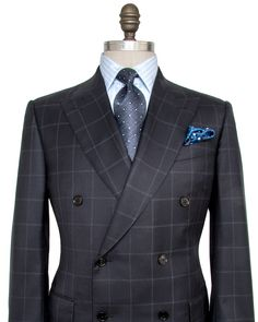Ermenegildo Zegna Navy Windowpane Suit Double breasted jacket Peak lapel Pick…