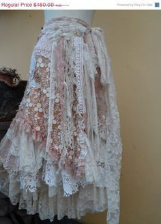"""20% off vintage inspired extra shabby wrap skirt/shawl...a work of art 40"""" across plus ties."""