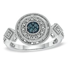 1/10+CT.+T.W.+Enhanced+Blue+and+White+Diamond+Cluster+Ring+in+Sterling+Silver+-+Size+7