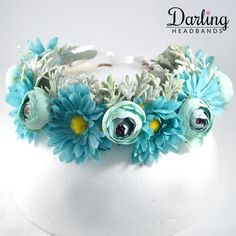 This mind blowing floral crown is perfect for any outdoor parties. Looks like the white dress will look amazing with it! Outdoor Parties, Floral Crown, Mind Blown, Aqua Blue, Blue Flowers, Wedding Planning, Party, Jewelry, Floral Wreath