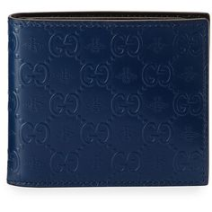 Gucci Alveare GG Leather Bi-Fold Wallet (42995 RSD) ❤ liked on Polyvore featuring men's fashion, men's bags, men's wallets, blue, gucci mens wallet, mens leather wallet and mens leather bifold wallet