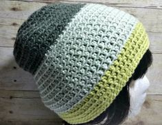 Free Adult Slouchy Beanie Hat Crochet Pattern - Caron Cakes Key Lime by Olive+Brook
