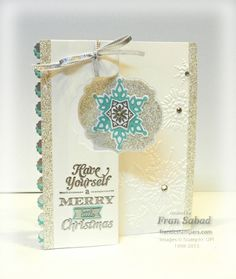 stampersblog: Festive Flip - Fran Sabad -  Nice CASE of the Stampin' Up Winter Flip Card - Great tip for embellishing these cards in the post too.
