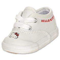 The Keds Honey Cute Crib Shoes are sweet and stylish. The shoes are perfect for your little feline fan! The canvas upper keeps things cool and comfortable while the fun graphic of Hello Kitty is enhanced with a glittery bow. The lace-up front finishes off the classic profile, complete with a rubber shell toe and outsole.