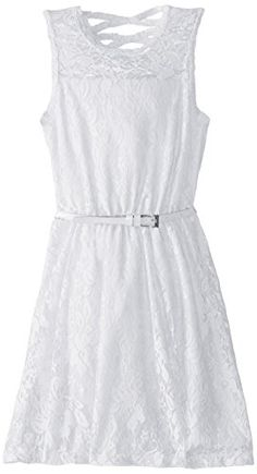 Dream Star Big Girls' Fully Lined Lace Dress with Belt and X Back, White, Large Dreamstar http://www.amazon.com/dp/B00SOPN9CE/ref=cm_sw_r_pi_dp_bRavvb1KYVWP5