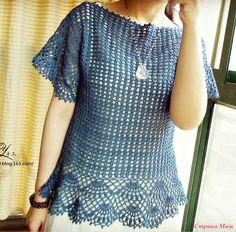 lovely 1 of 4 Crochet Shirt, Crochet Lace, Crochet Summer Tops, Crochet Woman, Crochet Fashion, Beautiful Crochet, Crochet Designs, Lace Tops, Crochet Clothes