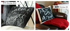 The Happy Housie - DIY Chalkboard Pillow Pottery Barn Knockoff with full tutorial
