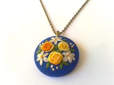 Spring roses hand embroidered jewelry necklace by ConeBomBom