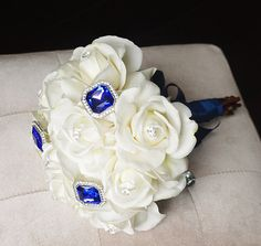 Spectacular Blue Brooch Wedding Bouquet - White Roses and Sapphire Brooch Jewel Bride Bouquet - Rhinestones
