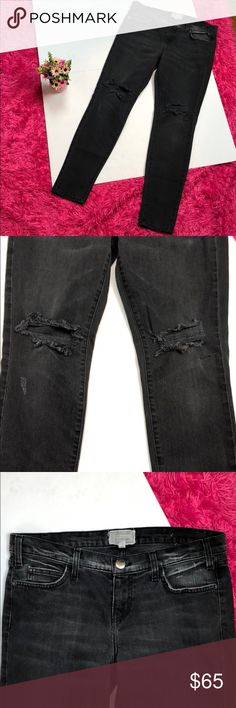 """Current Elliot The Ankle Skinny BlackJack Destroy Current Elliot The Ankle Skinny BlackJack Destroy  Size 29  Distressed at the knees  98% cotton 2% elastane   Style: 1393-0002  Waist is 17"""" Rise 8.5"""" Inseam 30"""" Current/Elliott Jeans"""