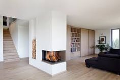▷ Passive house Kieffer – Baufritz - Decoration For Home Home Fireplace, Modern Fireplace, Living Room With Fireplace, Fireplace Design, Home Living Room, Fireplace Ideas, Passive House, Fireplace Inserts, Sweet Home