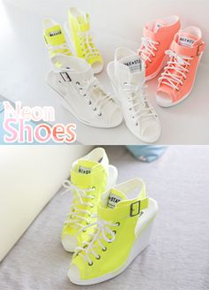 Today's Hot Pick :Neon Cutout Wedge Sneakers http://fashionstylep.com/SFSELFAA0000146/bapumken1/out High quality Korean fashion direct from our design studio in South Korea! We offer competitive pricing and guaranteed quality products. If you have any questions about sizing feel free to contact us any time and we can provide detailed measurements.