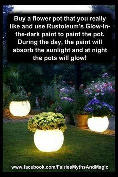 Night light flower pots, perfect for a magical fairy garden. Night light flower pots, perfect for a magical fairy garden. Painted Flower Pots, Painted Pots, Outdoor Projects, Garden Projects, Diy Projects, Project Ideas, Dark Flowers, Glowing Flowers, Wild Flowers