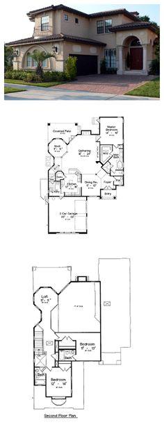 Italian House Plan 64616 | Total Living Area: 2733 sq ft, 3 bedrooms & 3.5 bathrooms. #houseplan #italian