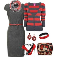 """Red-Orange with Charcoal..."" by mares-80 on Polyvore"
