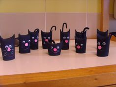 ,TP tube cats--fold down the tops to form the ears; pipecleaner tail