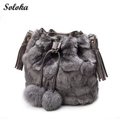 550cc7b644 High Quality Faux Rabbit Fur Bucket Bag Women 2017 Luxury Soft Lady Purse  Shoulder Crossbody Bag