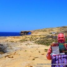 Dwejra, Gozo: The Azure window (right) a nature rock arch out to sea