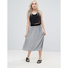 B.Young Pleated Midi Skirt (496.215 IDR) ❤ liked on Polyvore featuring skirts, grey, metallic pleated skirts, high waisted midi skirt, grey skirt, high-waisted skirt and gray skirt