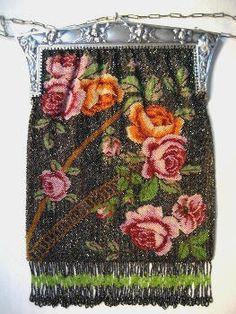 Art Nouveau Beaded Purse Roses Figural Frame Antique Handbag