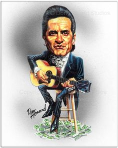 Johnny Cash Limited Edition Celebrity Caricature by Don Howard